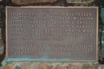Memorial plaque to the Victims of Argonaut Mining Tragedy image. Click for full size.