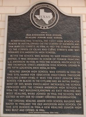 Site of Old Anderson High School; Kealing Jr. High Marker image. Click for full size.