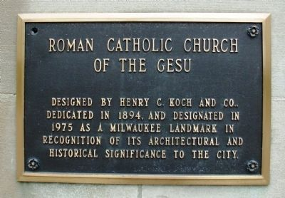 Roman Catholic Church of the Gesu Marker image. Click for full size.