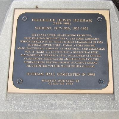 Frederick Dewey Durham Marker image. Click for full size.