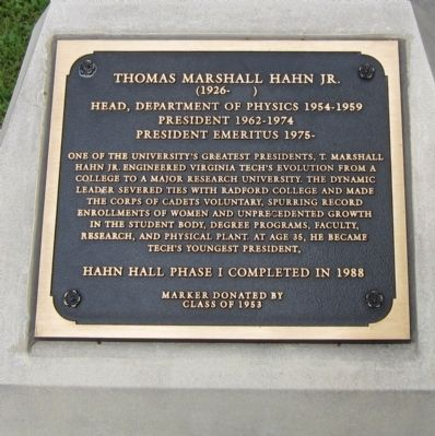 Thomas Marshall Hahn Jr. Marker image. Click for full size.