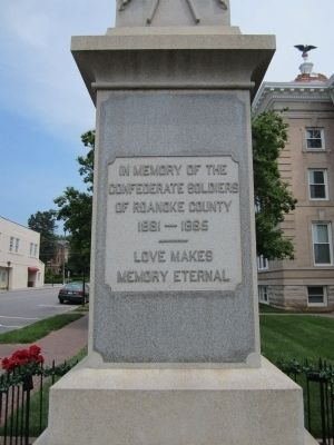 Roanoke County Confederate Monument (front) image. Click for full size.