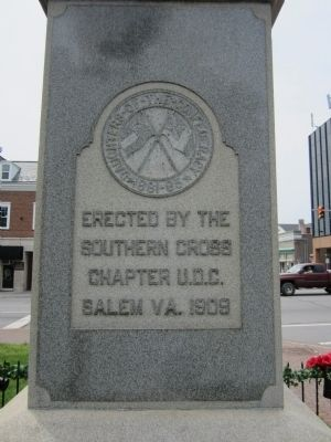 Roanoke County Confederate Monument (rear) image. Click for full size.