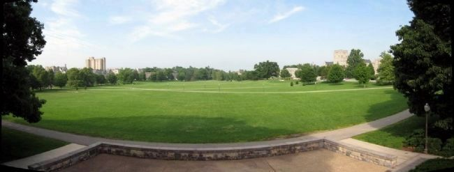 View of the Virginia Tech Drillfield from the War Memorial Chapel image. Click for full size.