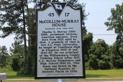 McCollum-Murray House Marker (reverse) image. Click for full size.