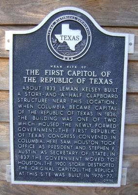 Near Site of The First Capitol of the Republic of Texas Marker image. Click for full size.