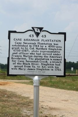 Cane Savannah Plantation Marker image. Click for full size.