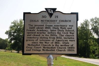 Dials Methodist Church Marker -<br>Reverse image. Click for full size.