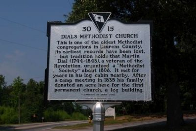 Dials Methodist Church Marker -<br>Front image. Click for full size.