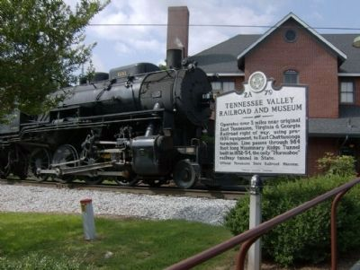 Tennessee Valley Railroad And Museum Marker and Train passing image. Click for full size.