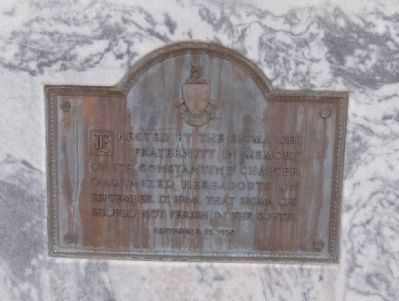 Close-up of plaque on the front of memorial. image. Click for full size.