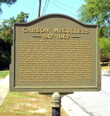 Carson McCullers Marker image. Click for full size.