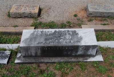 William H. Armstrong & Isabelle Putnam -<br>Original Tombstone image. Click for full size.