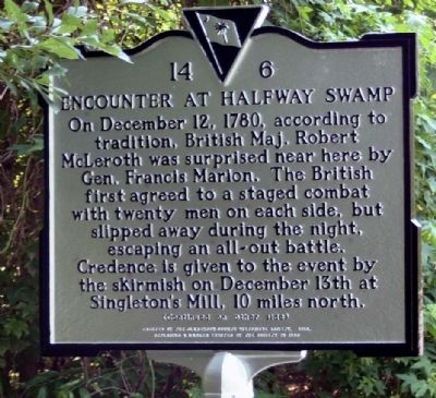 Encounter at Halfway Swamp Marker image. Click for full size.