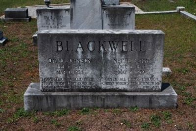David Johnson & Nettie Curry Blackwell Tombstone image. Click for full size.