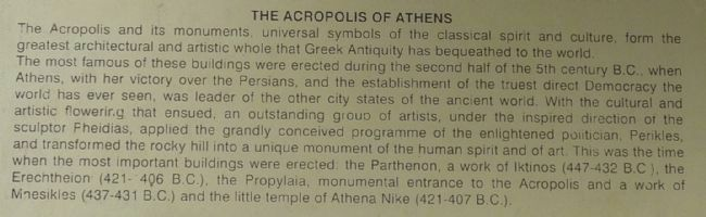 The Acropolis of Athens Marker: close-up of English text. image. Click for full size.