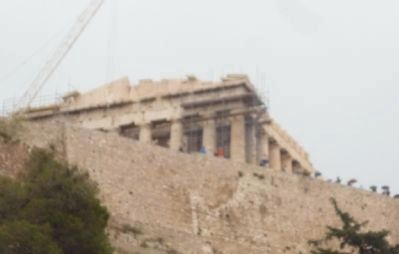 View of the Parthenon above the Acropolis wall from Dionysiou Areopagitou Street image. Click for full size.