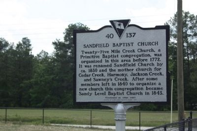 Sandfield Baptist Church Marker image. Click for full size.