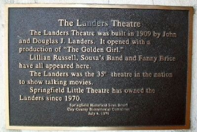 The Landers Theatre Marker image. Click for full size.