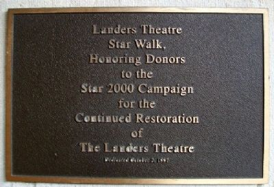The Landers Theatre Star Walk Marker image. Click for full size.