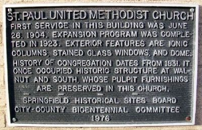 St. Paul United Methodist Church Marker image. Click for full size.