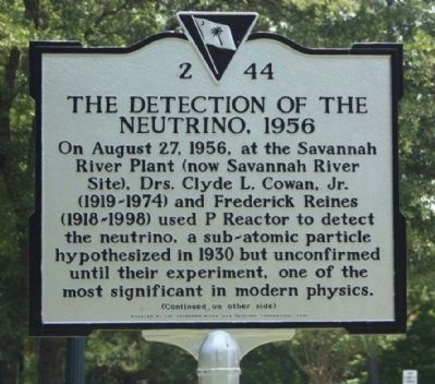The Detection of the Neutrino, 1956 Marker image. Click for full size.