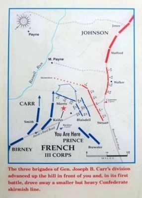 Carr's Division advances toward the open fields on Payne's Farm image. Click for full size.