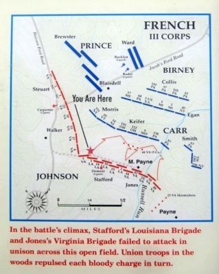 Confederate attack across the open fields of Payne's Farm image. Click for full size.