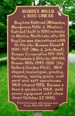 Sussex Mills and Bug Line RR Marker image. Click for full size.