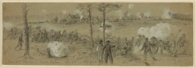 View of the rebel position at Mine run--2nd corps batteries in foreground image. Click for full size.
