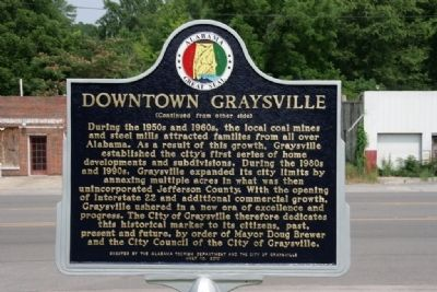 Downtown Graysville Marker (Side B) image. Click for full size.