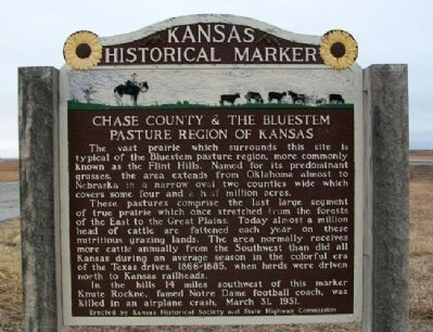 Chase County & The Bluestem Pasture Region of Kansas Marker image. Click for full size.