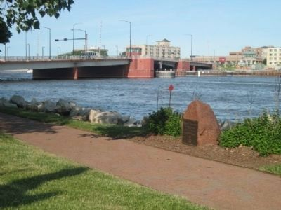 Tocqueville Marker and Ray Nitschke Bridge in background image. Click for full size.