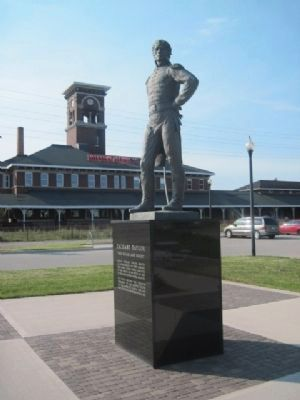 Zachary Taylor Marker and Titletown Brewery in background image. Click for full size.