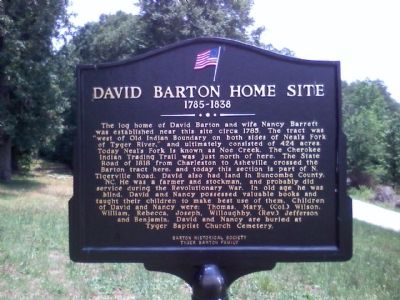 David Barton Home Site Marker image. Click for full size.