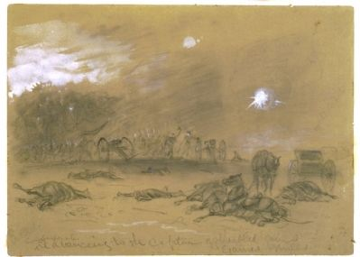 Confederates advancing to the capture of disabled guns. Gaines Mills image. Click for full size.
