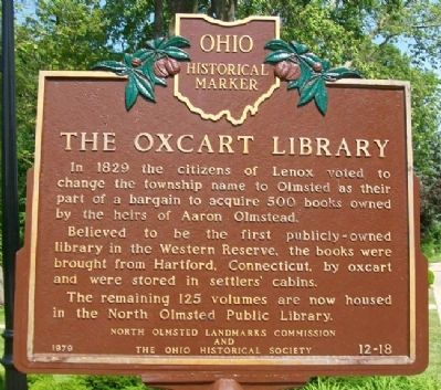 The Oxcart Library Marker image. Click for full size.