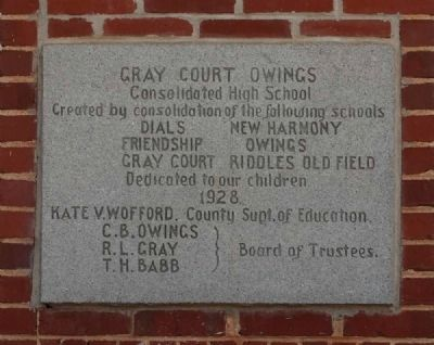 Gray Court Owings Consolidated High School Marker image. Click for full size.