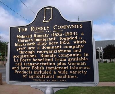 Side 'One' - - The Rumely Companies Marker image. Click for full size.