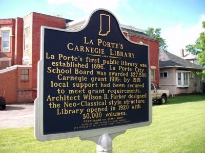 Side One - - LaPorte's Carnegie Library Marker image. Click for full size.