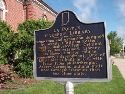 Side Two - - LaPorte's Carnegie Library Marker image. Click for full size.