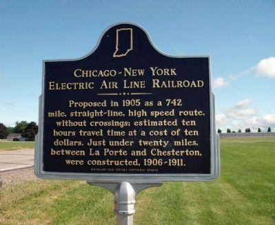 Obverse View - - Chicago - New York Electric Air Line Railroad Marker image. Click for full size.