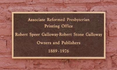Associate Reformed Presbyterian Printing Office Plaque image. Click for full size.