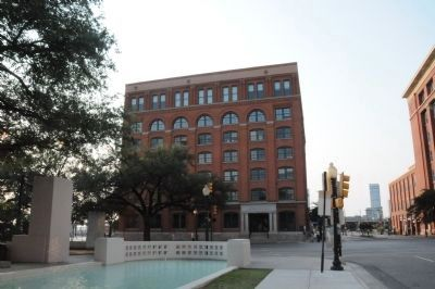 Formerly The Texas School Book Depository Building and Marker image. Click for full size.