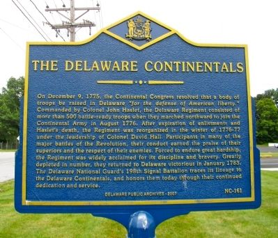 The Delaware Continentals Marker image. Click for full size.
