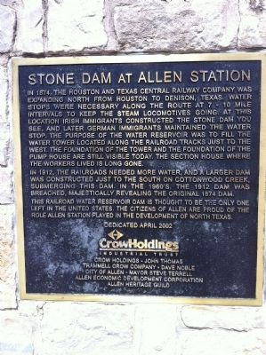 Stone Dam at Allen Station Marker image. Click for full size.