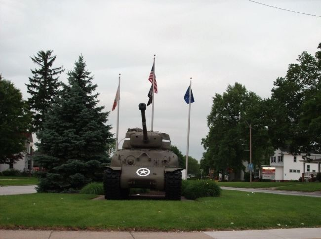 W.W.II Triangle Memorial Marker - - M-4 Sherman Tank image. Click for full size.