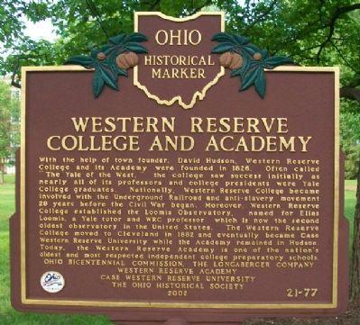 Western Reserve College and Academy Marker image. Click for full size.