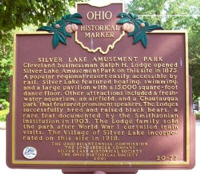 Silver Lake Amusement Park Marker (Side B) image. Click for full size.
