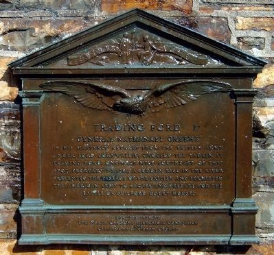 Bronze plaque on Trading Ford Monument image. Click for full size.